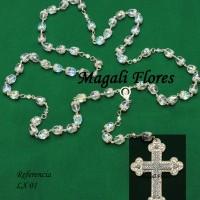 LuxuosoTerço em cristal Tcheco, acabamento finíssimo, crucifixo todo em strass – R$ 180,00 a unidade